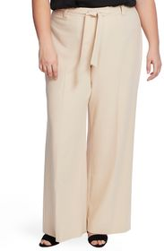 Vince Camuto WIDE LEG BELTED TEXTURED TWILL