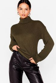 Nasty Gal Green Rollin' With It Ribbed Knit Sweate
