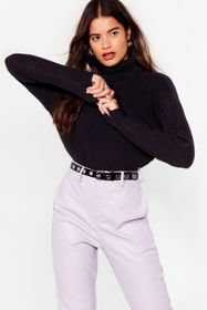 Nasty Gal Black Rollin' With It Ribbed Knit Sweate