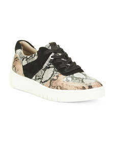 Leather Lace Up Comfort Sneakers