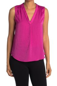 Vince Camuto V-Neck Sleeveless Rumpled Satin Blous