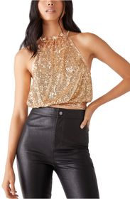 Free People Lights Out Sequin Halter Top