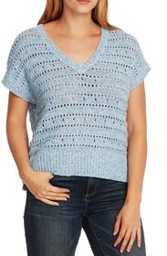 Vince Camuto Short Sleeve Open Stitch Sweater