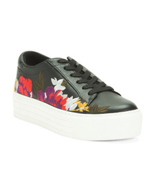 Leather Embroidered Platform Sneakers