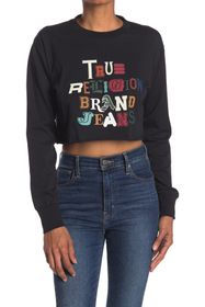 True Religion Mixed Up Long Sleeve Cropped Top