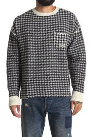 OVADIA AND SONS Houndstooth Wool Pullover Sweater