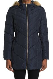 Cole Haan Puffer Down Faux Fur Trim Hooded Coat