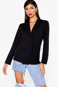 Nasty Gal Black Work From Home Relaxed Double Brea