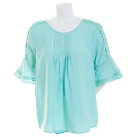 Plus Size NY Collection Elbow Bell Sleeve Pleated