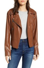 French Connection Quilted Back Faux Leather Moto J