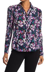 Nicole Miller Floral Puff Sleeve Tunic Blouse
