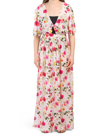 Floral Tie Front Maxi Dress Cover-up