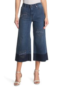 RED Valentino Cropped Studded Flare Leg Jeans