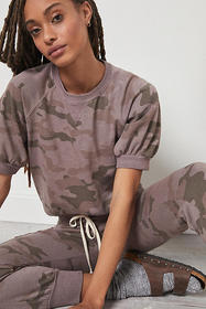 Anthropologie Sundry Puff-Sleeved Camo Top