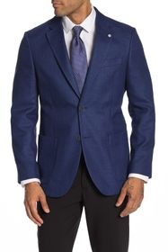 Nautica Jensen Blue Solid Two Button Notch Lapel A