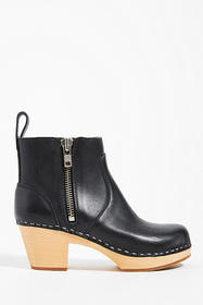 Anthropologie Swedish Hasbeens Leather Clog Bootie