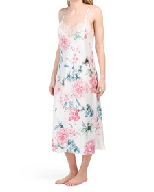 Noralee Floral Satin Gown With Lace