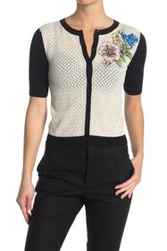 RED Valentino Floral Print Pointelle Cardigan
