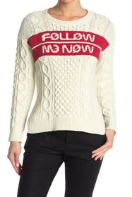 RED Valentino 'Follow Me Now' Cable Knit Sweater
