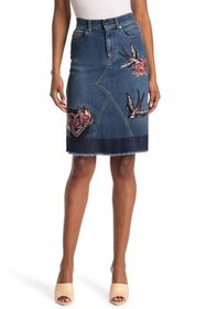 RED Valentino Swallow Embroidered Denim Skirt