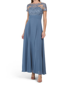3d Leaf Embroidered Chiffon Gown