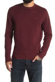 Lacoste Ribbed Knit Crew Neck Sweater