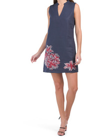 Linen Tunic Dress With Floral Embroidery