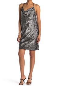 HALSTON Cowl Neck Metallic Dress