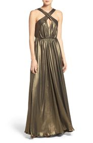 HALSTON SL CROSS NECK FLOWY GOWN