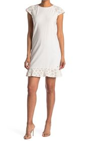 Tommy Hilfiger Eyelet Embroidery Cap Sleeve Shift