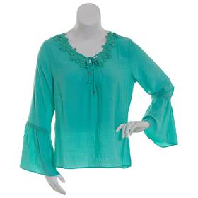 Plus Size NY Collection Long Bell Sleeve Crochet T