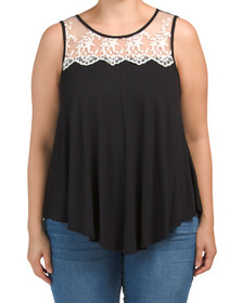 Plus Sleeveless Lace Detail Swing Top
