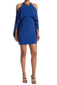 HALSTON Mock Neck Ruffle Sleeve Dress