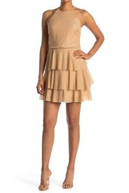 HALSTON High Neck Tiered Skirt Dress