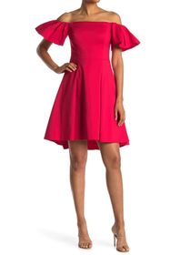 HALSTON Off-the-Shoulder Flounce Sleeve Dress