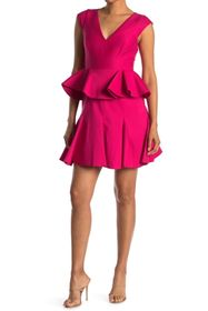HALSTON Cap Sleeve Peplum Dress