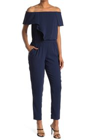 HALSTON Off-the-Shoulder Short Sleeve Jumpsuit