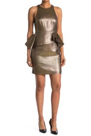 HALSTON Metallic Peplum Dress