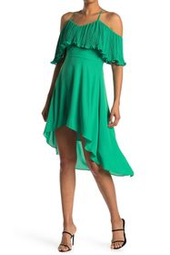 HALSTON Pleated Flounce V-Neck Dress