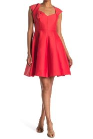 HALSTON Cap Sleeve V-Neck Dress