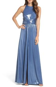 HALSTON High Neck Metallic Dress