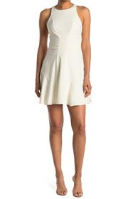 HALSTON Sleeveless High Neck Ruched Dress