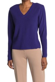 Nicole Miller V-Neck Puff Sleeve Cashmere Sweater