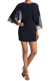 HALSTON Cape Sleeve Dress