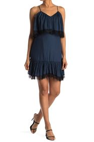 HALSTON Lace Trimmed Off-the-Shoulder Dress