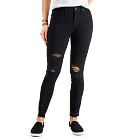 High-Rise Destructed Skinny Ankle Jeans, Created f