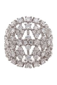 Savvy Cie Sterling Silver CZ Wide Stacked Ring