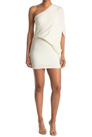 HALSTON One Shoulder Asymmetrical Sleeve Dress