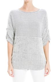 Max Studio Striped Ruched Elbow Sleeve Textured To