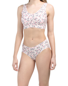 Micro Laser Floral Lounge Bra And Hipster Underwea